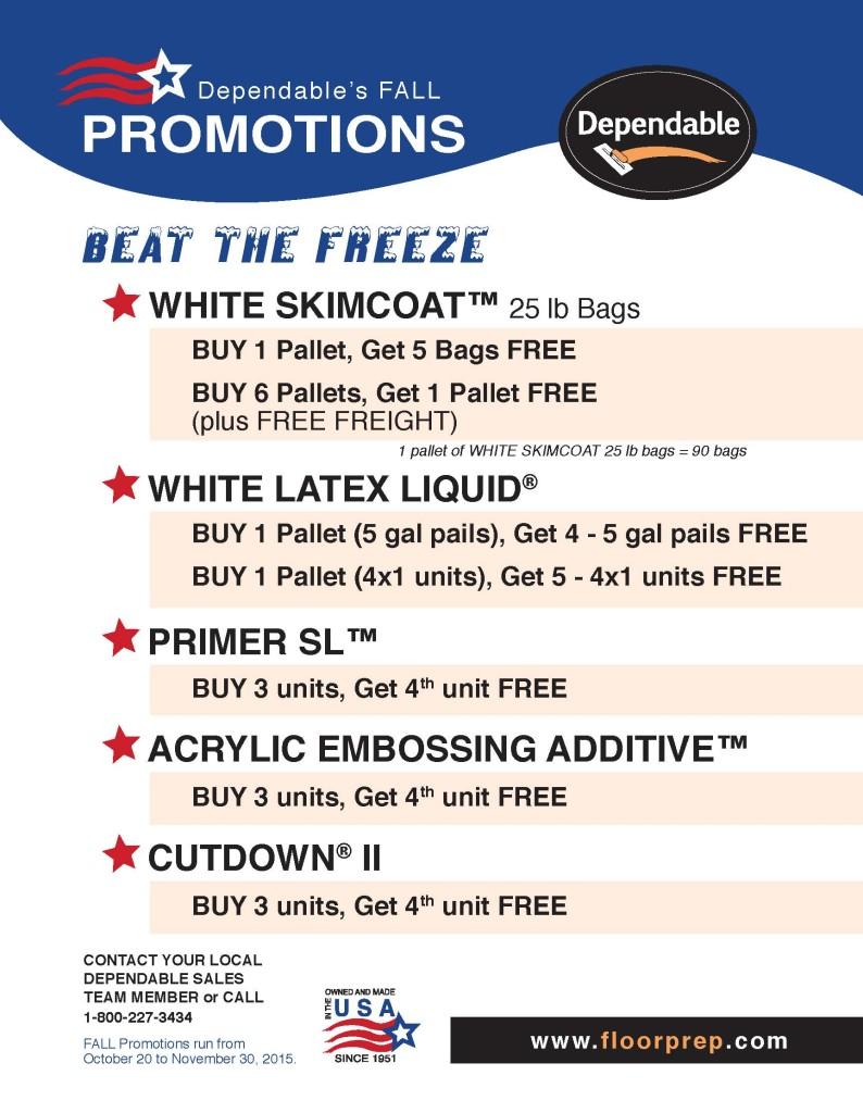 2015 Dependables October November Promotions